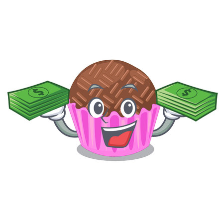 With money bag bragadeiro presented in the character jar vector illustartion Illustration