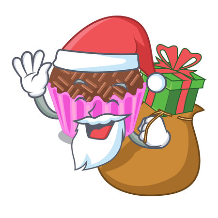 Santa with gift brigadeiro is wrapped in a mascot vector illustartion