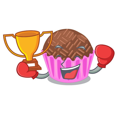 Boxing winner brigadeiro is wrapped in a mascot vector illustartion