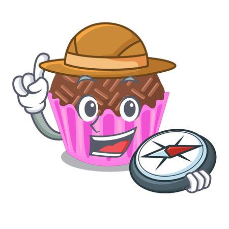Explorer bragadeiro presented in the character jar vector illustartion Illustration