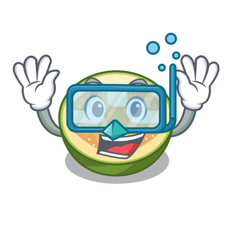 Diving faijoa fruit juice on character glass vector illustration