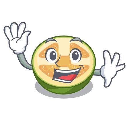 Waving faijoa fruit juice on character glass vector illustration 向量圖像