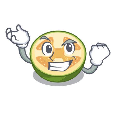 Successful faijoa fruit juice on character glass vector illustration
