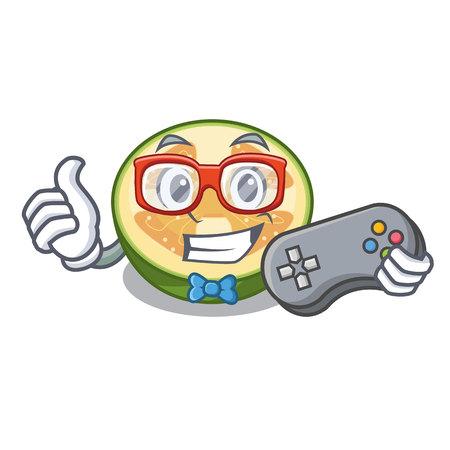 Gamer feijoa fruit slices on cartoon plate vector illustration 일러스트