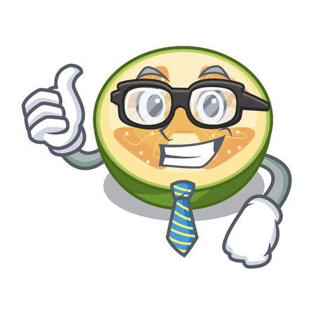 Businessman faijoa fruit juice on character glass vector illustration Illustration