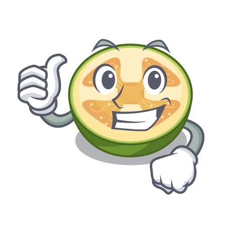 Thumbs up faijoa fruit juice on character glass vector illustration