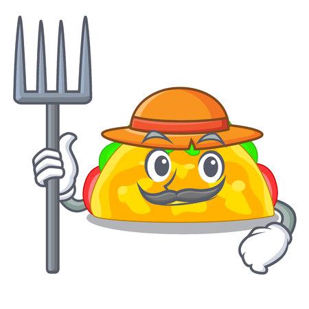 Farmer omelatte served on wooden cartoon plate vector ilustration