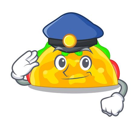 Police omelatte served on wooden cartoon plate vector ilustration Illustration