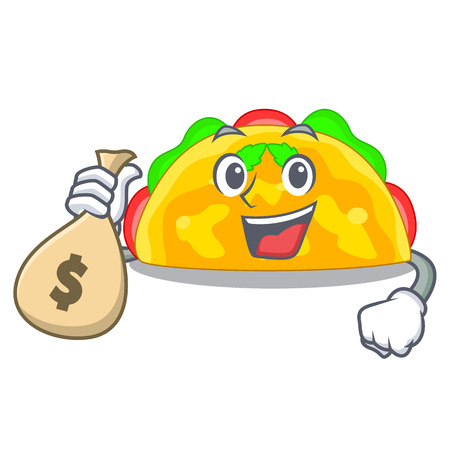 With money bag omelatte served on wooden cartoon plate vector ilustration