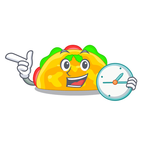 With clock omelette is fried on character plate Ilustração