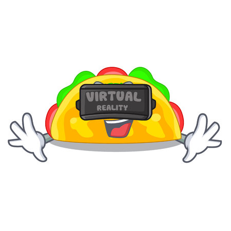 Virtual reality omelatte in a toasted cartoon pan vector illustration