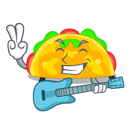 With guitar omelatte in a toasted cartoon pan vector illustration Illustration