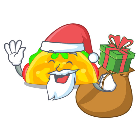 Santa with gift omelatte fried isolated on the mascot vector illustration