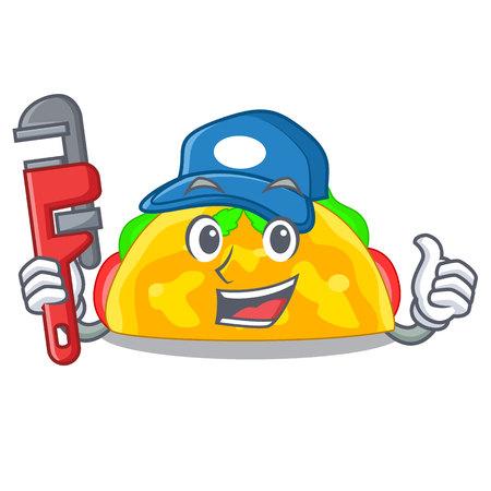 Plumber omelatte fried isolated on the mascot vector illustration
