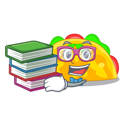 Student with book omelatte fried isolated on the mascot vector illustration