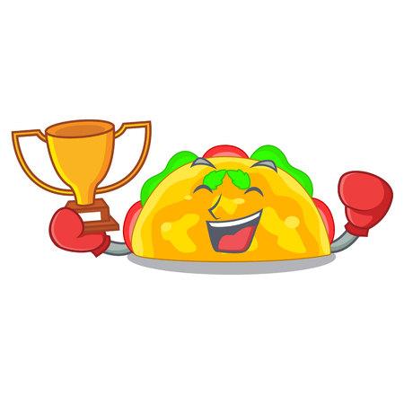 Boxing winner omelatte fried isolated on the mascot vector illustration