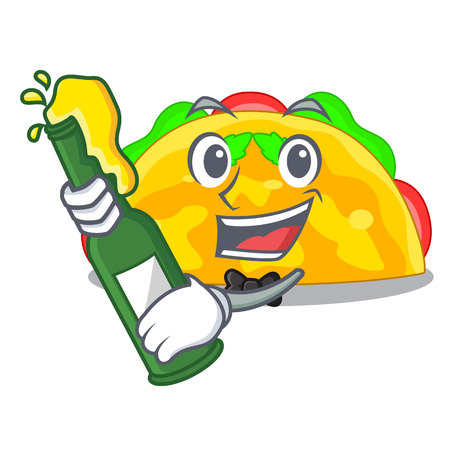 With beer omelatte fried isolated on the mascot vector illustration