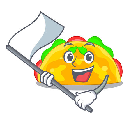 With flag omelatte fried isolated on the mascot vector illustration Illustration