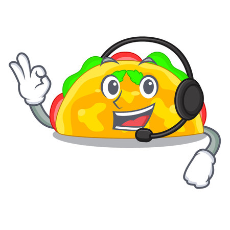 With headphone omelatte fried isolated on the mascot vector illustration