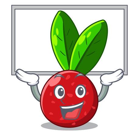 Up board yangmei fruit in a cartoon basket vector illustartion Ilustração