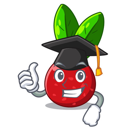 Graduation sliced fruit yangmei on character plate vector illustration