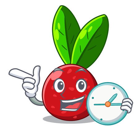 With clock sliced fruit yangmei on character plate vector illustration