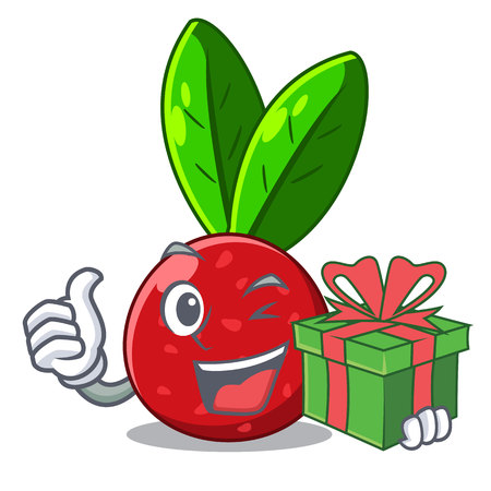 With gift fruit yangmei in the cartoon fridge vector illustration