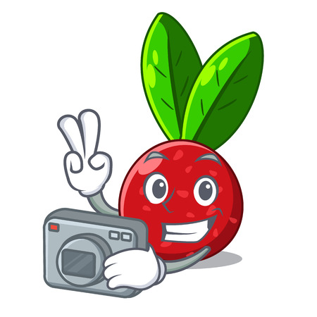 Photographer fruit yangmei in the cartoon fridge vector illustration