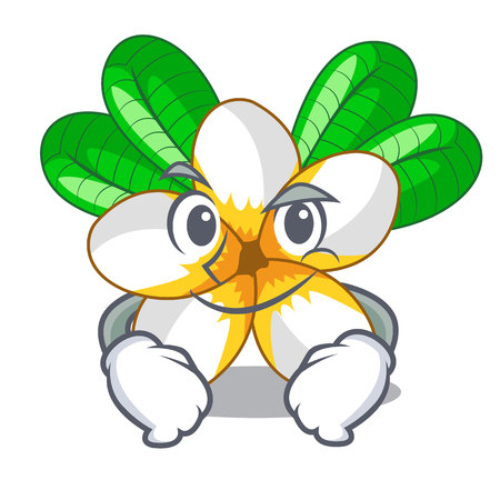 Smirking frangipani flowers in the chracter pot vector illustration