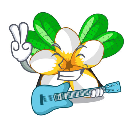 With guitar frangipani flower in the cartoon tree vector illustration