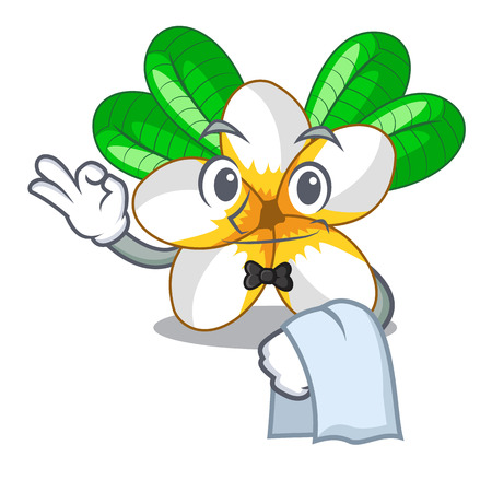 Waiter frangipani flower in the cartoon tree vector illustration Illustration