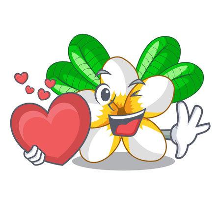 With heart frangipani flower in the cartoon tree vector illustration Stock Vector - 126495390