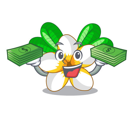 With money bag frangipani flower in the cartoon tree vector illustration Illustration