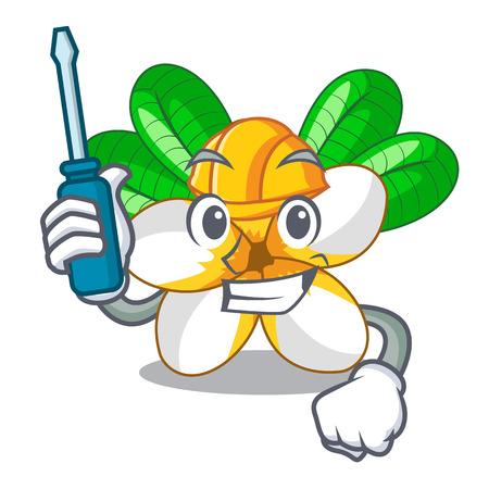 Automotive flower frangipani isolated on the mascot vector illustration