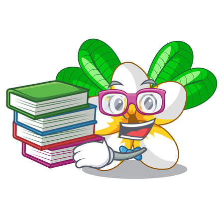 Student with book flower frangipani isolated on the mascot vector illustration Иллюстрация