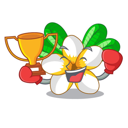 Boxing winner flower frangipani isolated on the mascot vector illustration Çizim