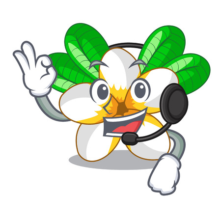 With headphone flower frangipani isolated on the mascot vector illustration