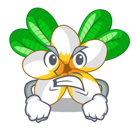 Angry frangipani flower in the cartoon tree vector illustration
