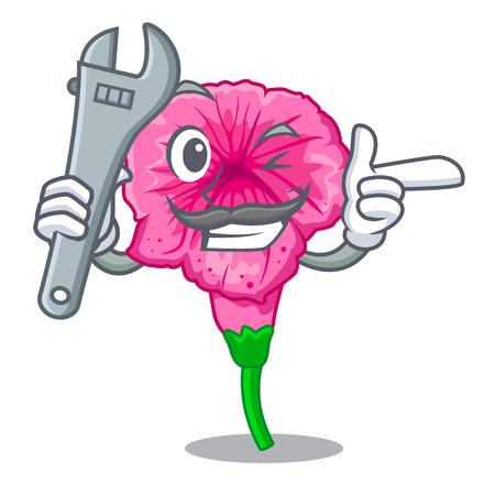 Mechanic petunia in a mascot flower basket vector illustration Illustration