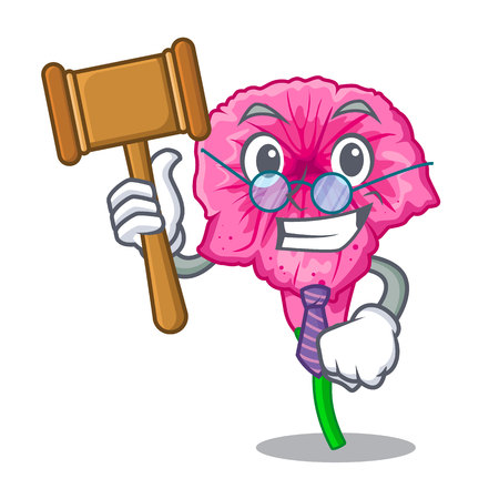 Judge petunia in a mascot flower basket vector illustration