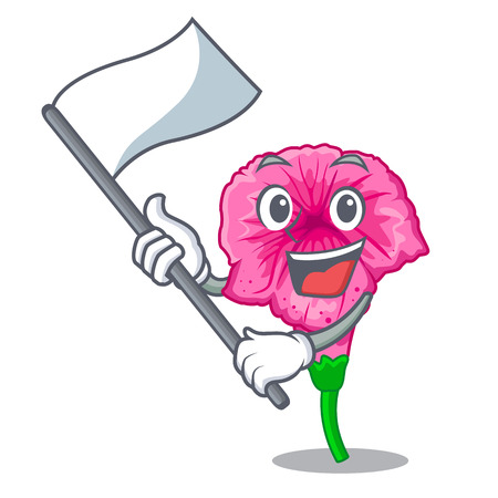 With flag petunia in a mascot flower basket vector illustration