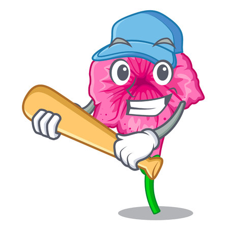 Playing baseball petunia flowers on cartoon home page vector illustration