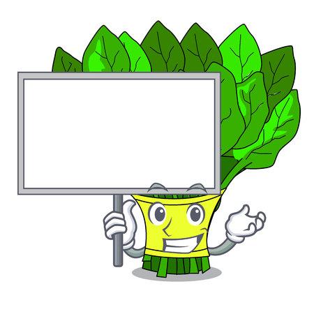 Bring board spinach in a the cartoon basket vector illustration Illustration