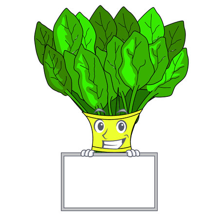 Grinning with board spinach in a the cartoon basket vector illustration