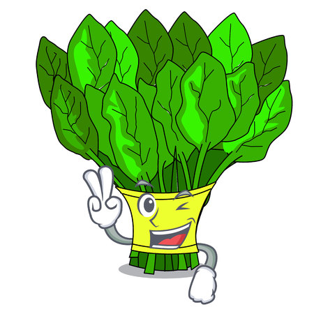 Two finger vegetable spinach on a cartoon plate vector illustration