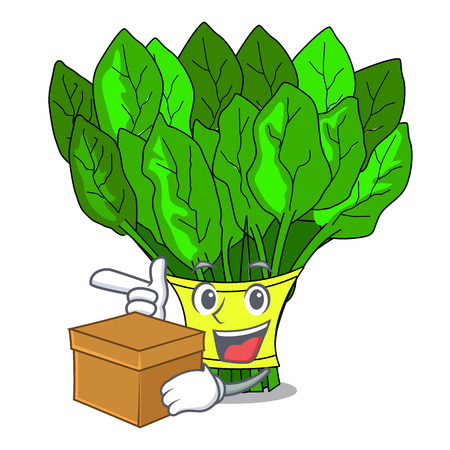 With box vegetable spinach on a cartoon plate vector illustration