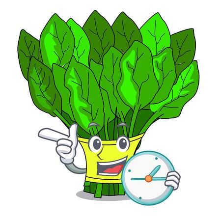Avec des épinards de légumes d'horloge sur une illustration vectorielle de plaque de dessin animé Vecteurs