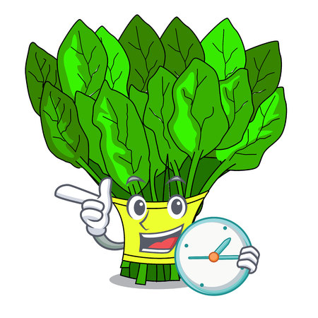 With clock vegetable spinach on a cartoon plate vector illustration Vetores