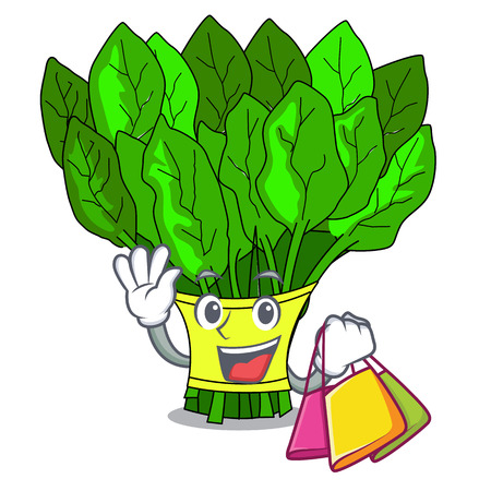 Shopping vegetable spinach on a cartoon plate vector illustration