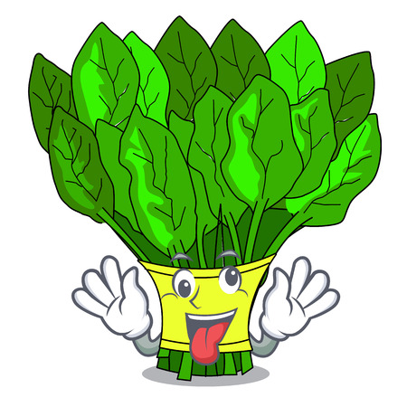 Espinacas de verduras locas aisladas en la ilustración de vector de mascota
